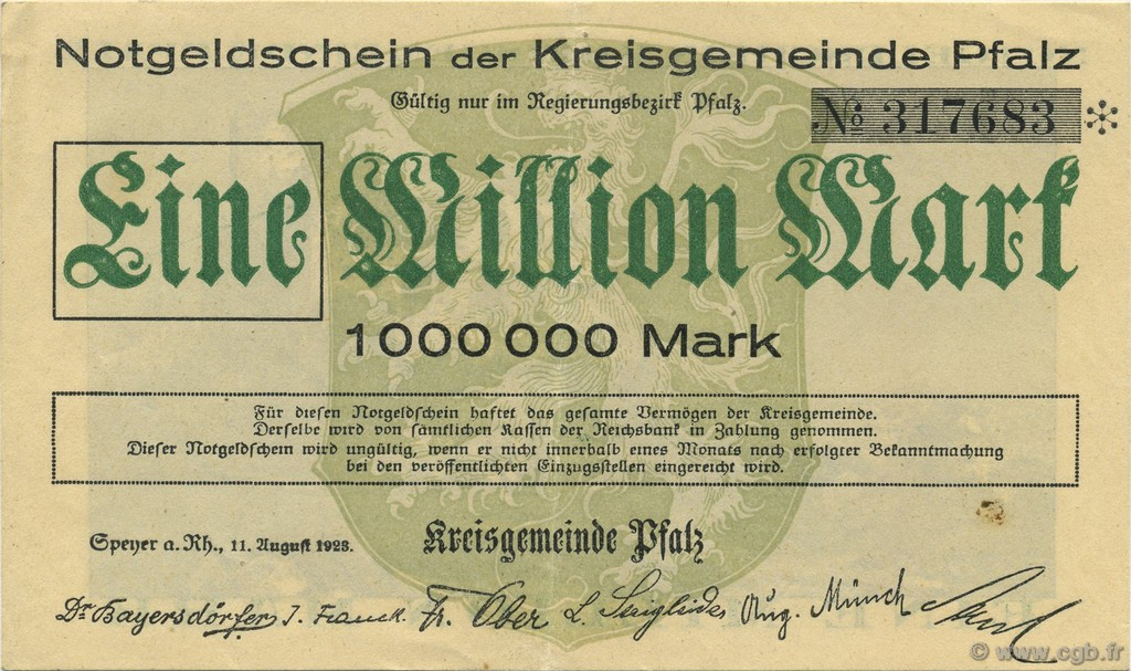 1 Million Mark ALLEMAGNE  1923  SUP+