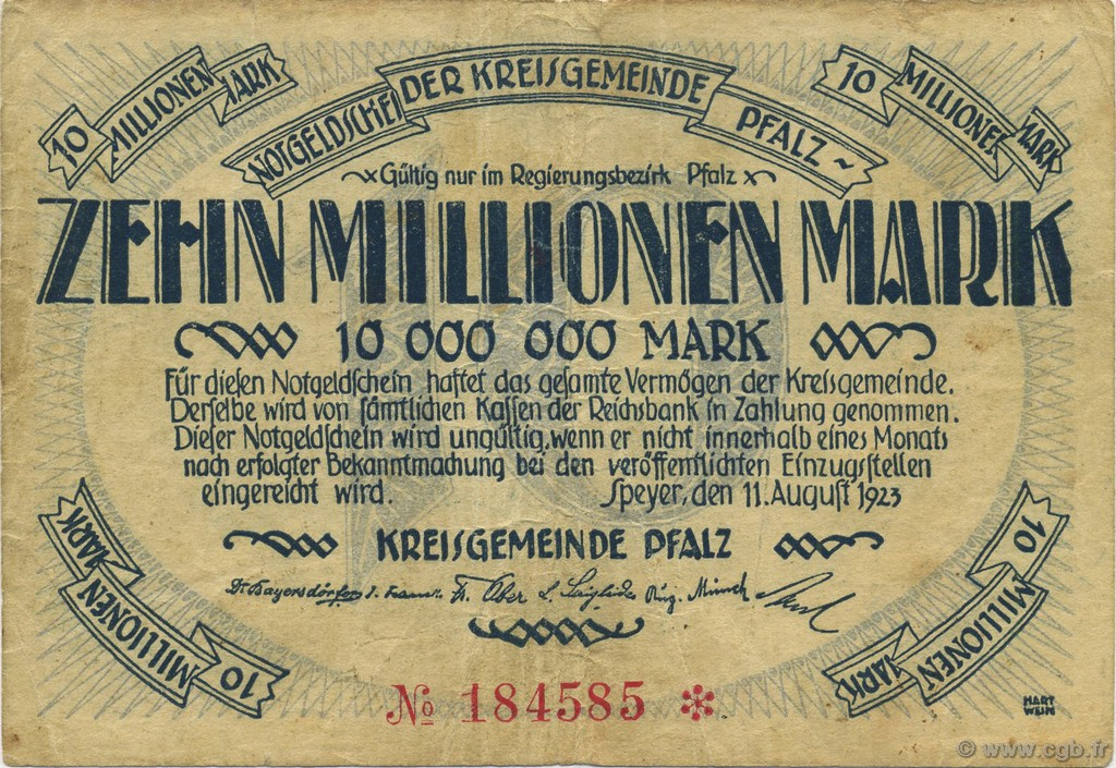 10 Millions Mark ALLEMAGNE Speyer 1923  TB+