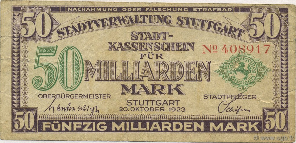 50 Milliards Mark ALLEMAGNE  1923  TB+