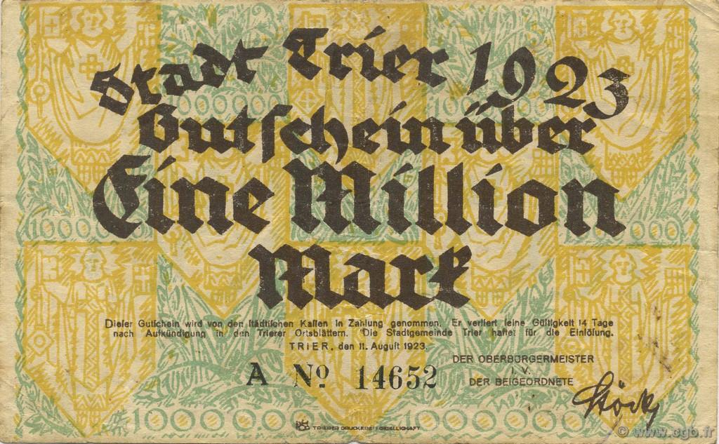 1 million mark deutschland trier tr ves 1923 b61 3064. Black Bedroom Furniture Sets. Home Design Ideas