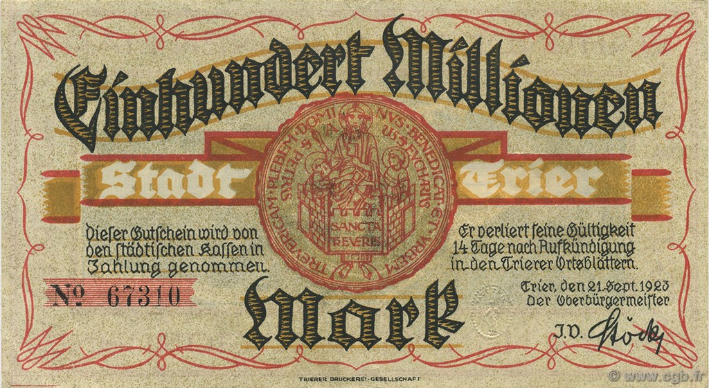 100 Million Mark ALLEMAGNE  1923  SUP