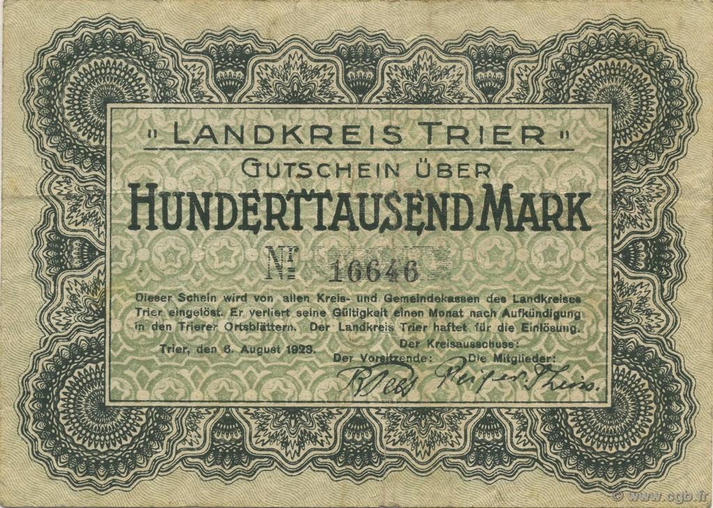 100000 mark germany trier tr ves 1923 b61 3068 banknotes. Black Bedroom Furniture Sets. Home Design Ideas