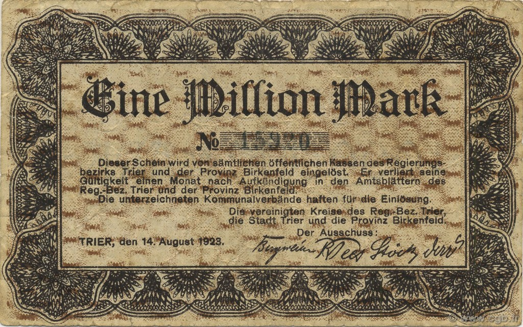 1 Million Mark ALLEMAGNE Trier - Trèves 1923  TTB