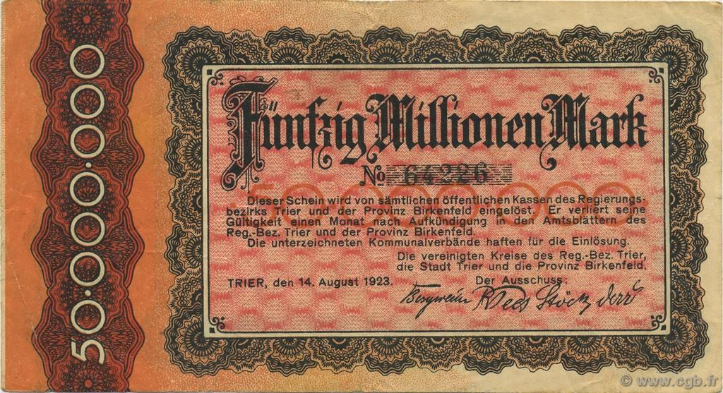 50 Millions Mark GERMANY  1923