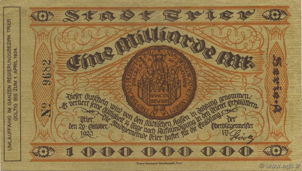 1 Milliard Mark ALLEMAGNE  1923  SUP