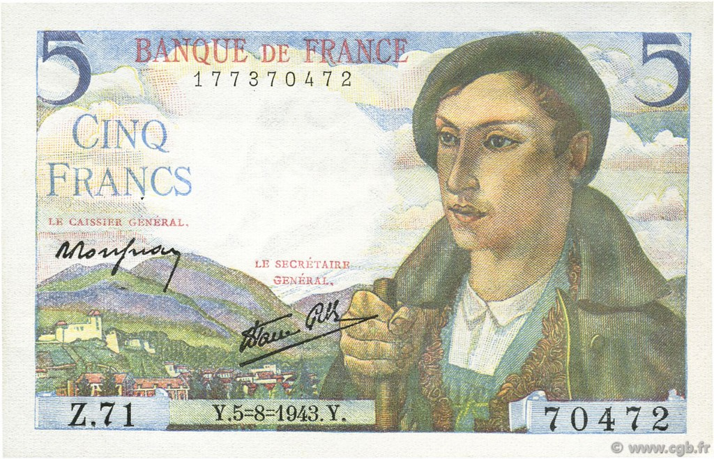 5 Francs BERGER FRANCE  1943 F.05.03 SPL