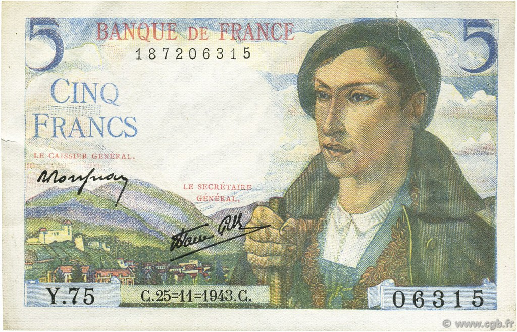 5 Francs BERGER FRANCE  1943 F.05.04 SUP