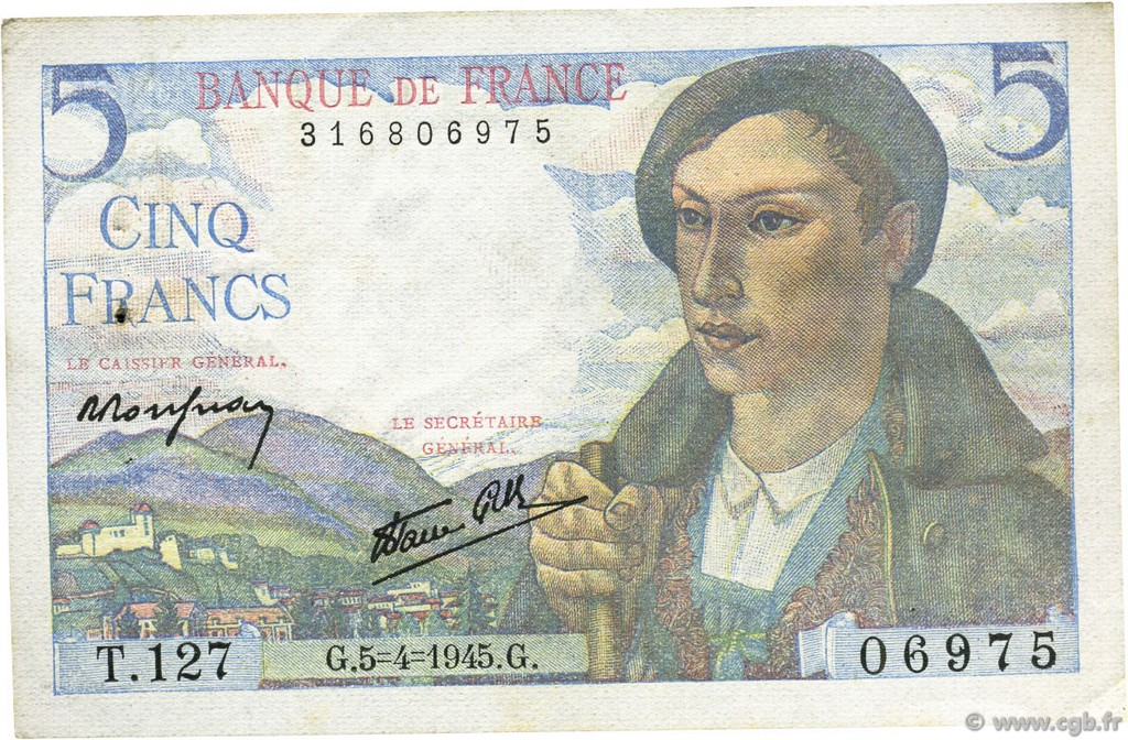 5 Francs BERGER  FRANCE  1945 F.05.06 pr.SPL