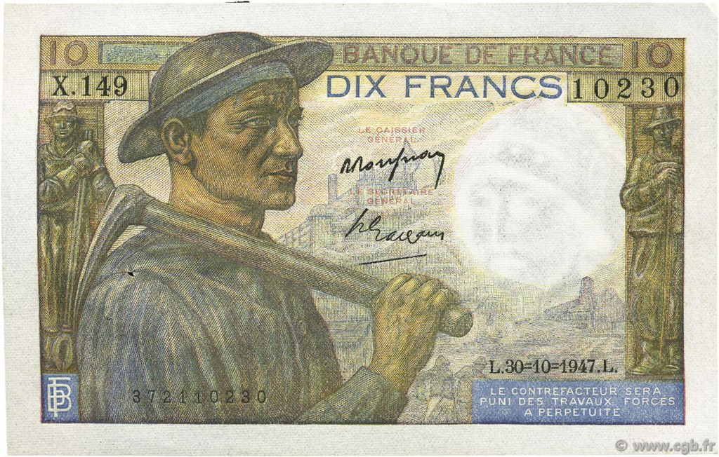 10 Francs MINEUR  FRANCE  1947 F.08.18 SUP+