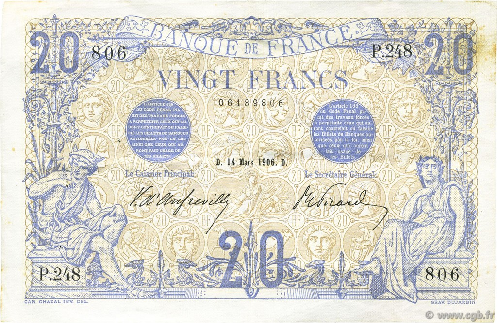 20 Francs BLEU FRANCE  1906 F.10.01 SUP