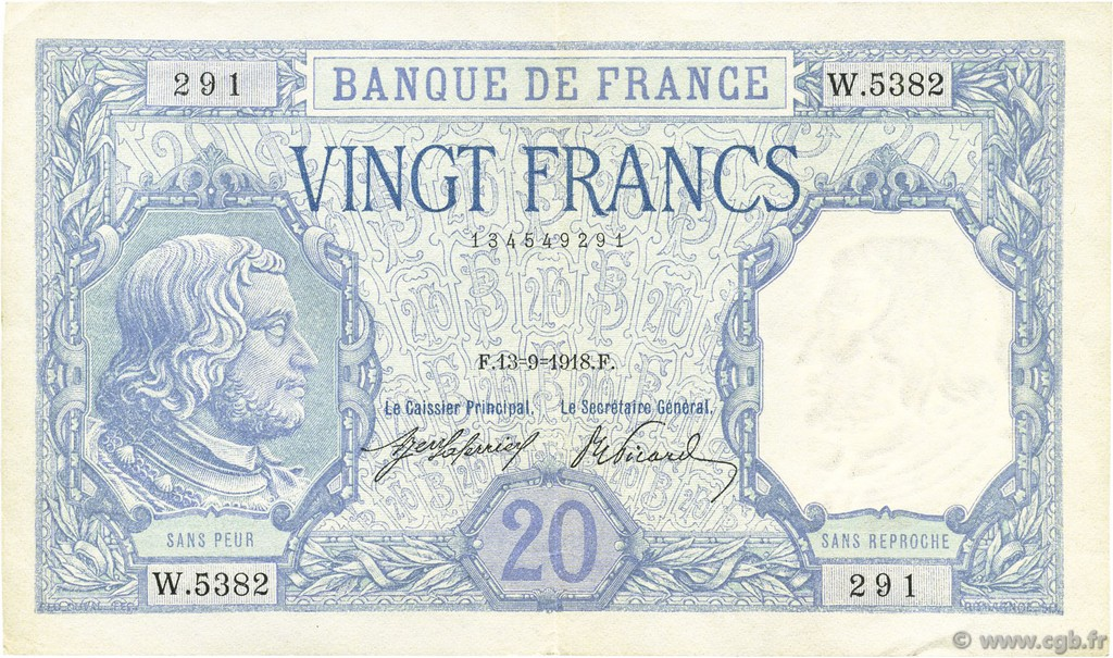 20 Francs BAYARD FRANCE  1918 F.11.03 SUP+