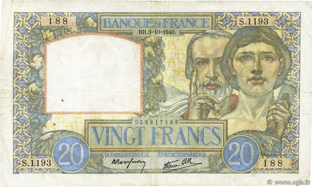 20 Francs SCIENCE ET TRAVAIL FRANCE  1940 F.12.08 TB+