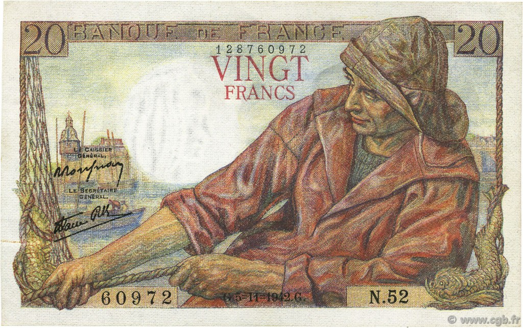 20 Francs PÊCHEUR FRANCE  1942 F.13.04 SUP