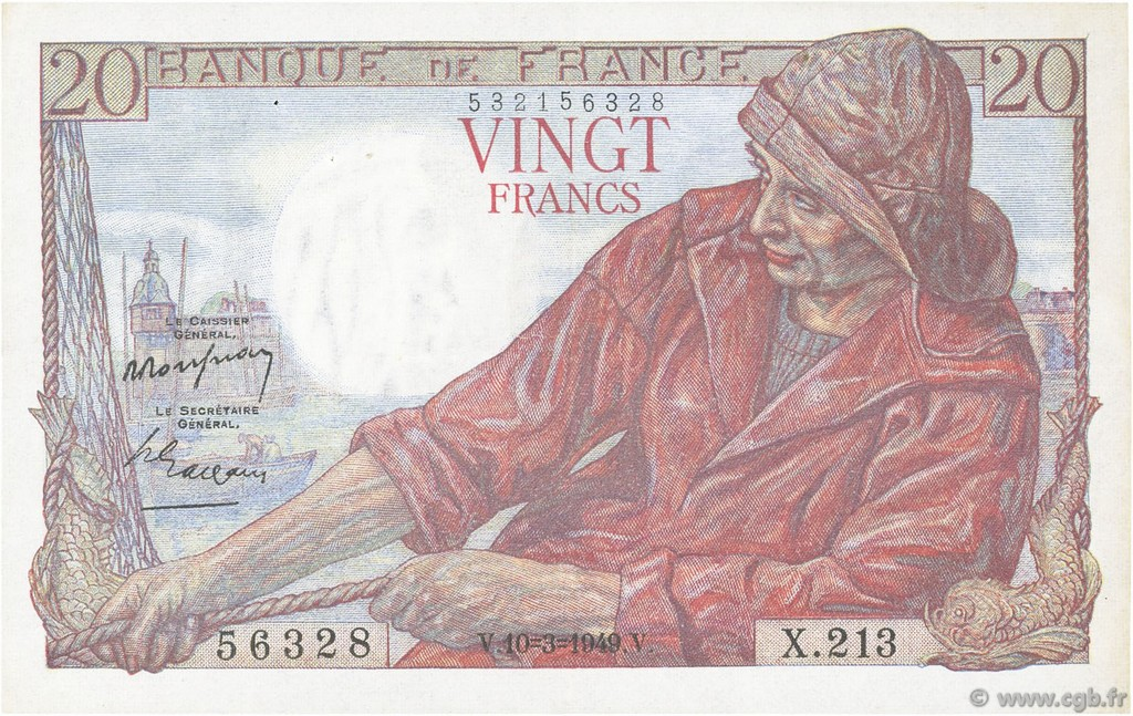 20 Francs PÊCHEUR FRANCE  1949 F.13.14 SUP