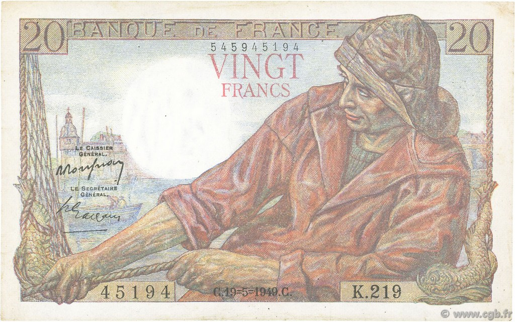 20 Francs PÊCHEUR FRANCE  1949 F.13.15 SUP