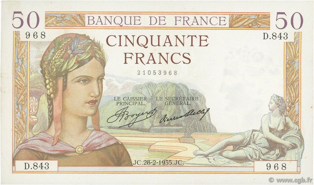 50 Francs CÉRÈS FRANCE  1935 F.17.05 pr.SUP
