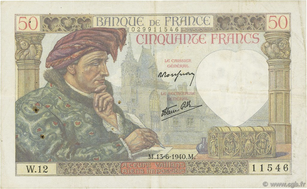 50 Francs JACQUES CŒUR FRANCE  1940 F.19.01 pr.TTB
