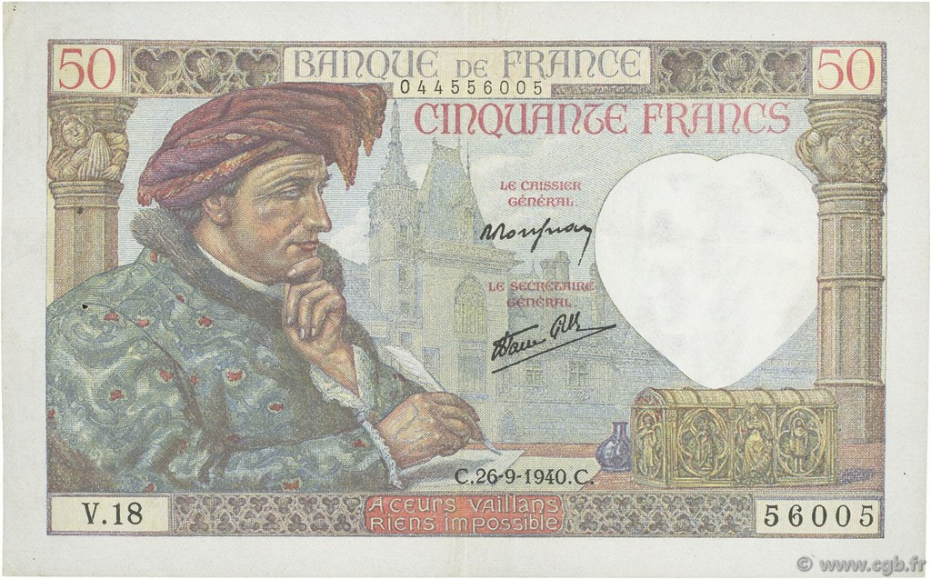 50 Francs JACQUES CŒUR FRANCE  1940 F.19.03 TTB+