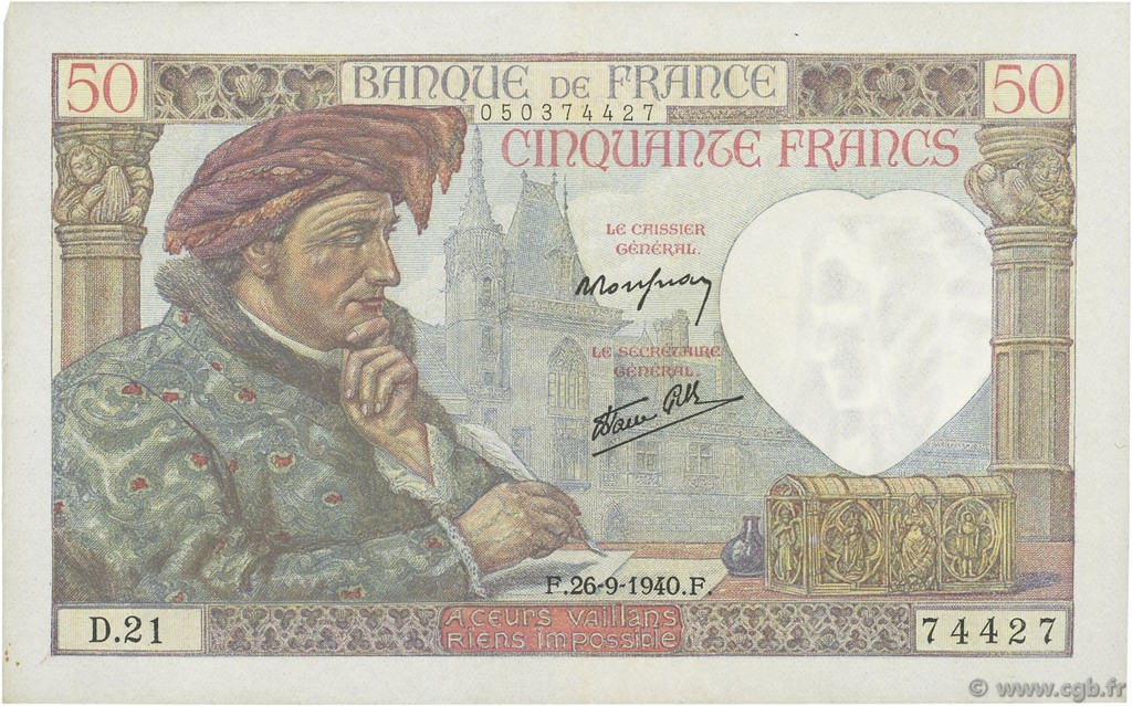 50 Francs JACQUES CŒUR FRANCE  1940 F.19.03 SUP+