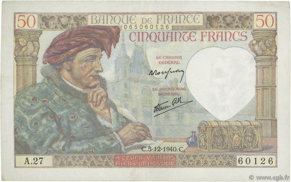 50 Francs JACQUES CŒUR FRANCE  1940 F.19.04 SUP