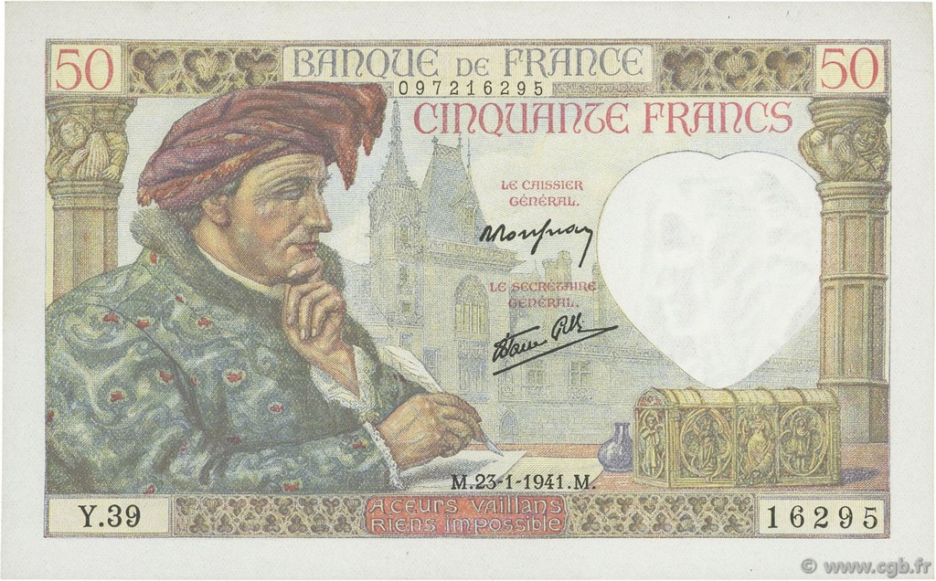 50 Francs JACQUES CŒUR FRANCE  1941 F.19.05 SUP+