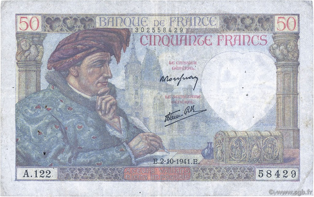 50 Francs JACQUES CŒUR FRANCE  1941 F.19.15 TB