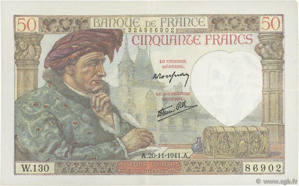 50 Francs JACQUES CŒUR FRANCE  1941 F.19.16 SUP