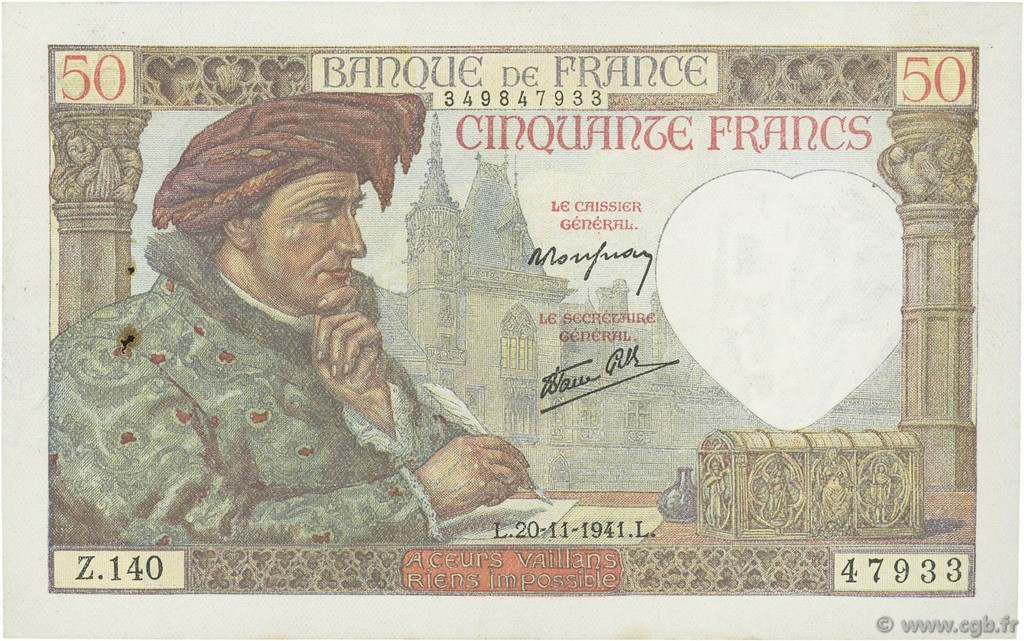 50 Francs JACQUES CŒUR FRANCE  1941 F.19.16 TTB+