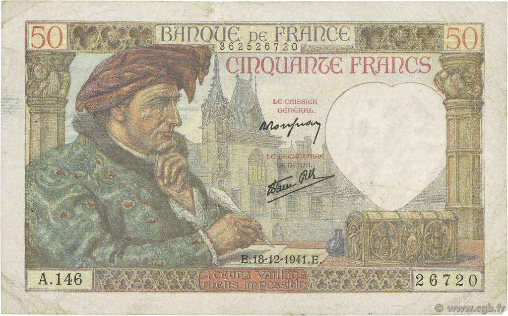 50 Francs JACQUES CŒUR FRANCE  1941 F.19.17 TB+