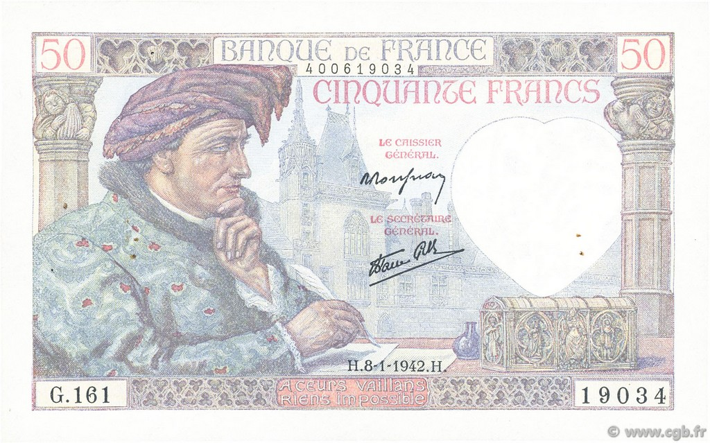 50 Francs JACQUES CŒUR FRANCE  1942 F.19.18 TTB