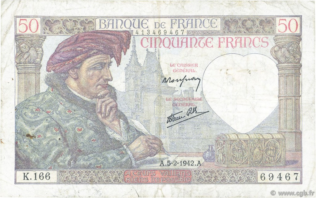 50 Francs JACQUES CŒUR FRANCE  1942 F.19.19 pr.TB