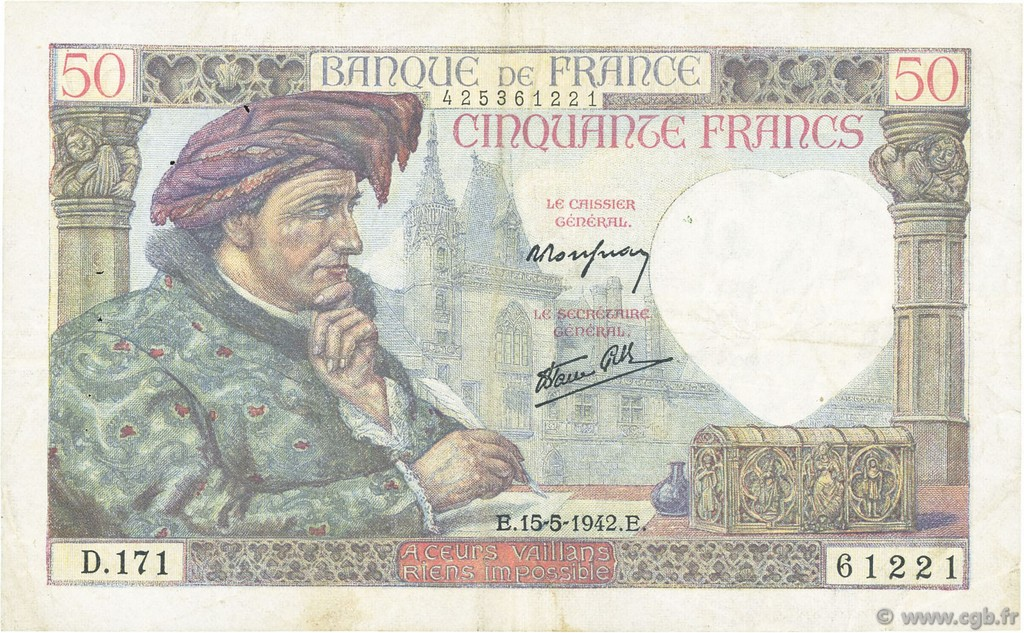 50 Francs JACQUES CŒUR FRANCE  1942 F.19.20 TB