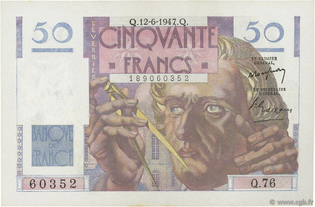 50 Francs LE VERRIER FRANCE  1947 F.20.08 pr.SPL
