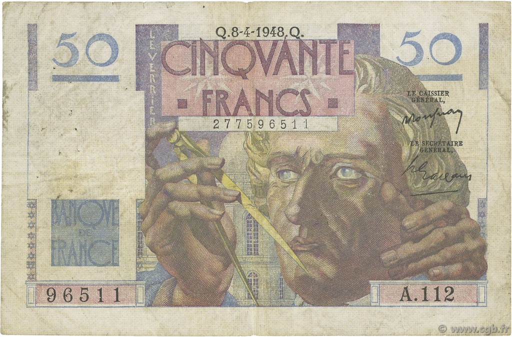 50 Francs LE VERRIER FRANCE  1948 F.20.10 pr.TB