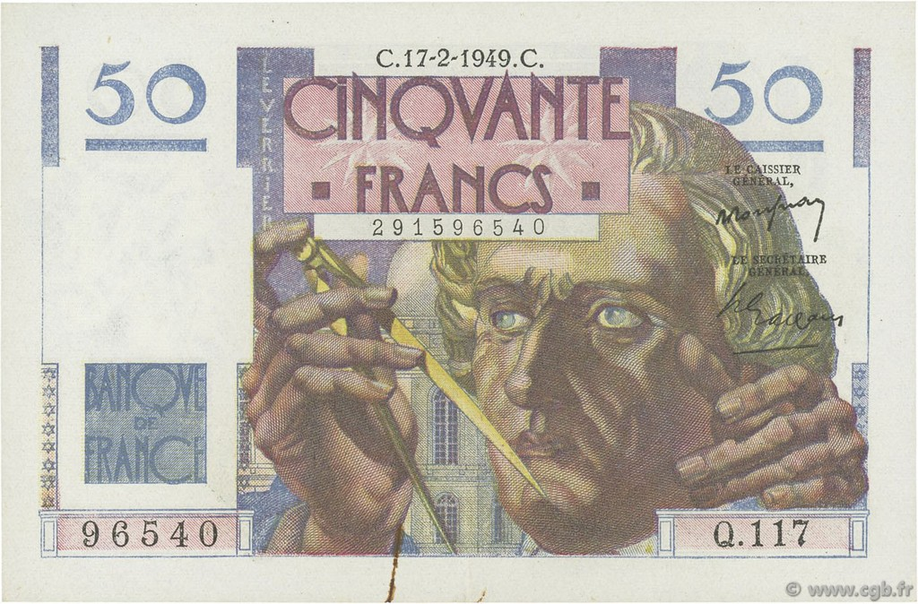 50 Francs LE VERRIER FRANCE  1949 F.20.11 SUP