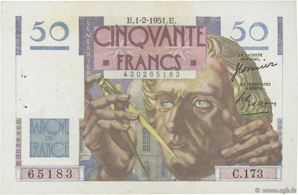 50 Francs LE VERRIER FRANCE  1951 F.20.17 SUP