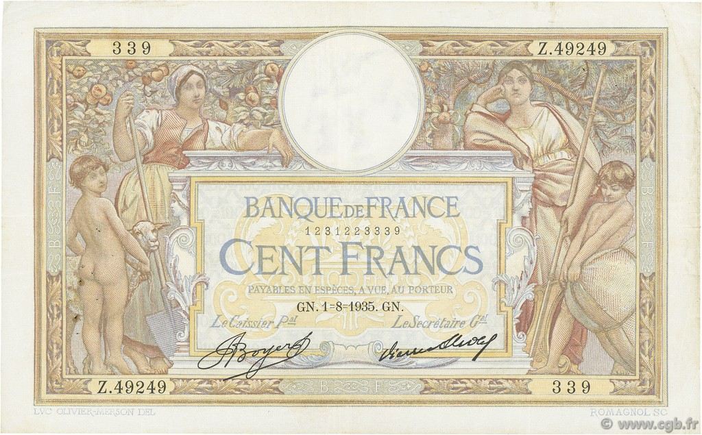100 Francs LUC OLIVIER MERSON grands cartouches FRANCE  1935 F.24.14 TTB