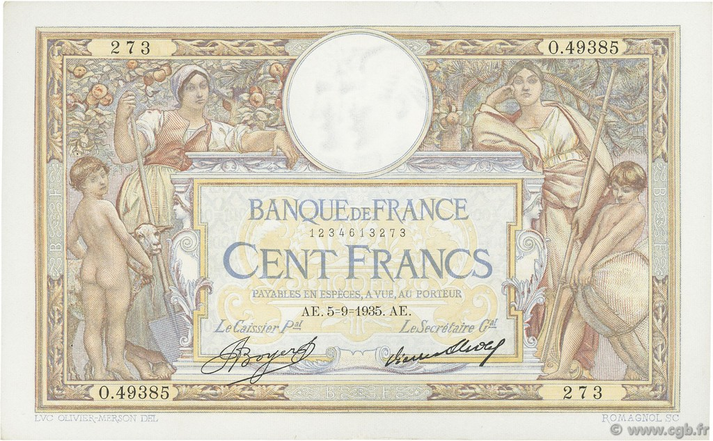 100 Francs LUC OLIVIER MERSON grands cartouches FRANCE  1935 F.24.14 SUP