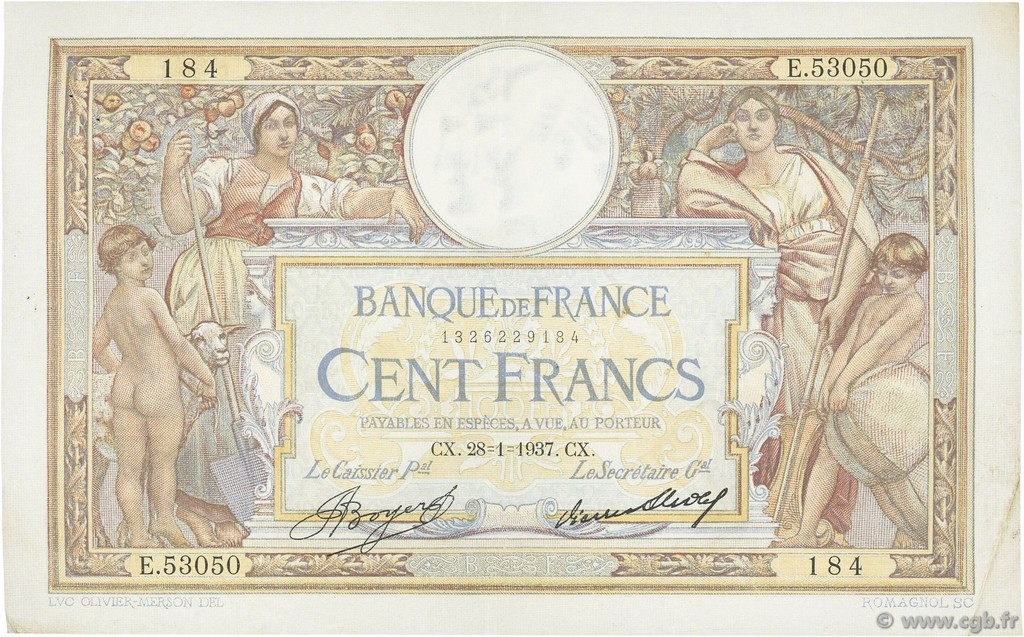 100 Francs LUC OLIVIER MERSON grands cartouches FRANCE  1937 F.24.16 TTB