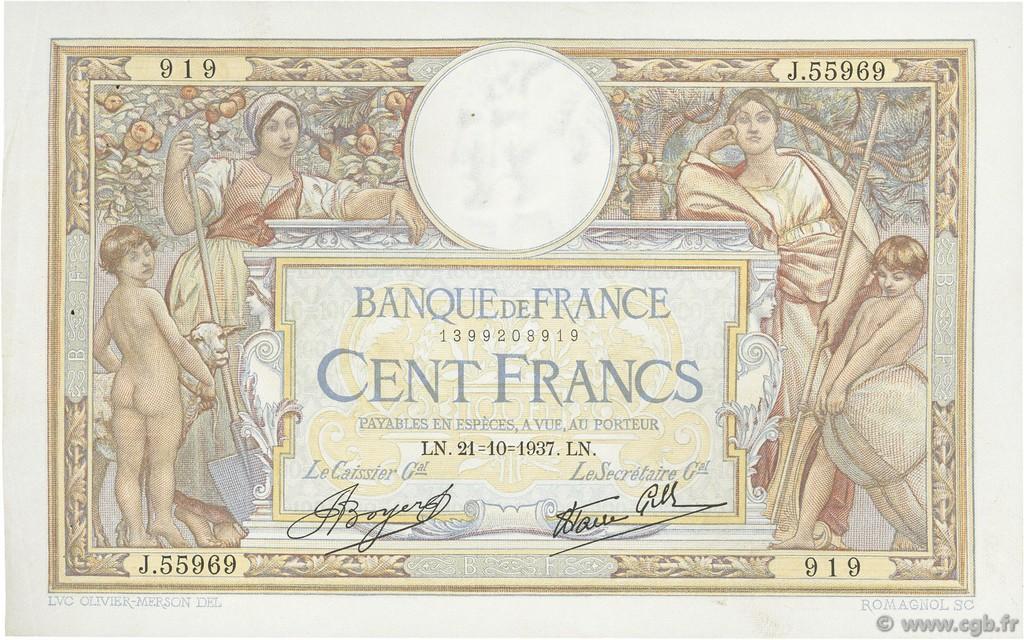 100 Francs LUC OLIVIER MERSON type modifié FRANCE  1937 F.25.03