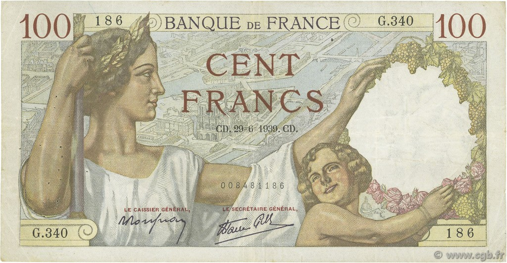 100 Francs SULLY FRANCE  1939 F.26.04 pr.TTB