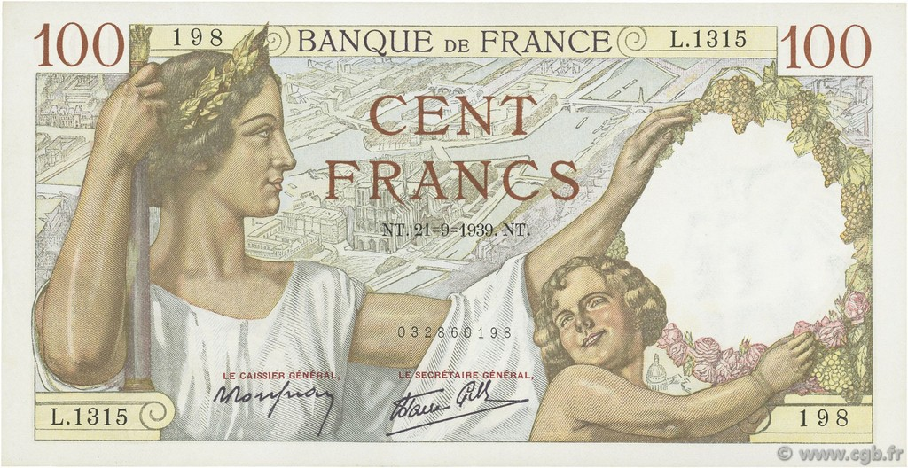 100 Francs SULLY FRANCE  1939 F.26.07 SUP+