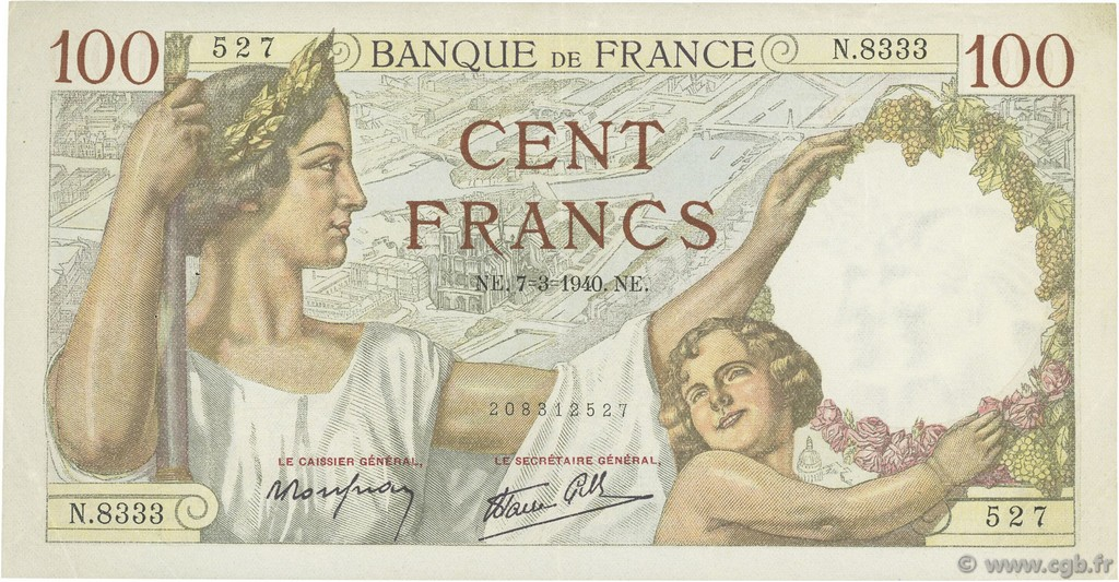 100 Francs SULLY FRANCE  1940 F.26.24 TTB+
