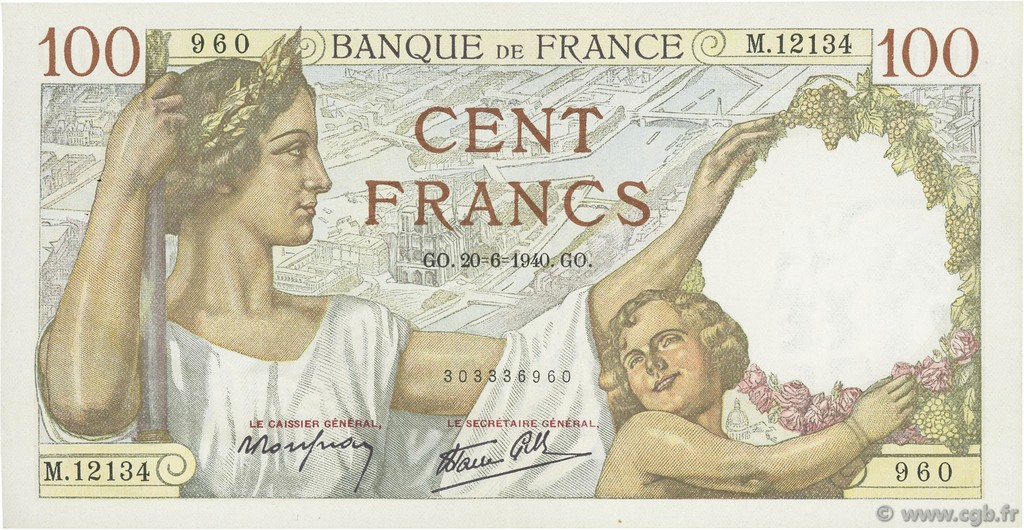 100 Francs SULLY FRANCE  1940 F.26.32 SUP