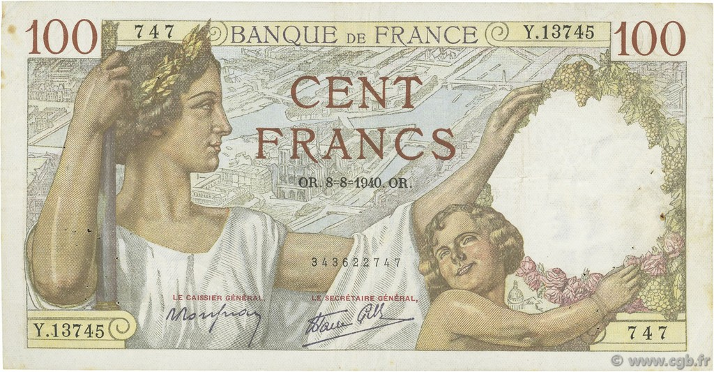 100 Francs SULLY FRANCE  1940 F.26.35 TTB