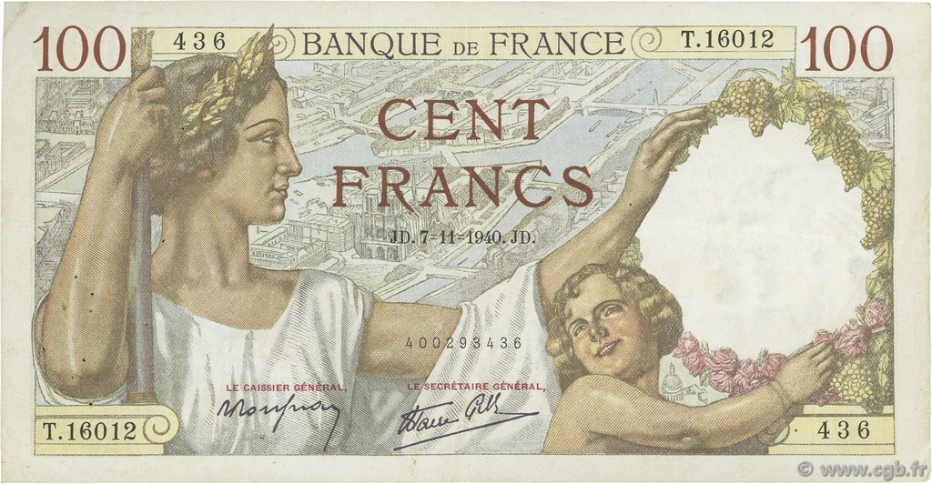 100 Francs SULLY FRANCE  1940 F.26.40 TTB