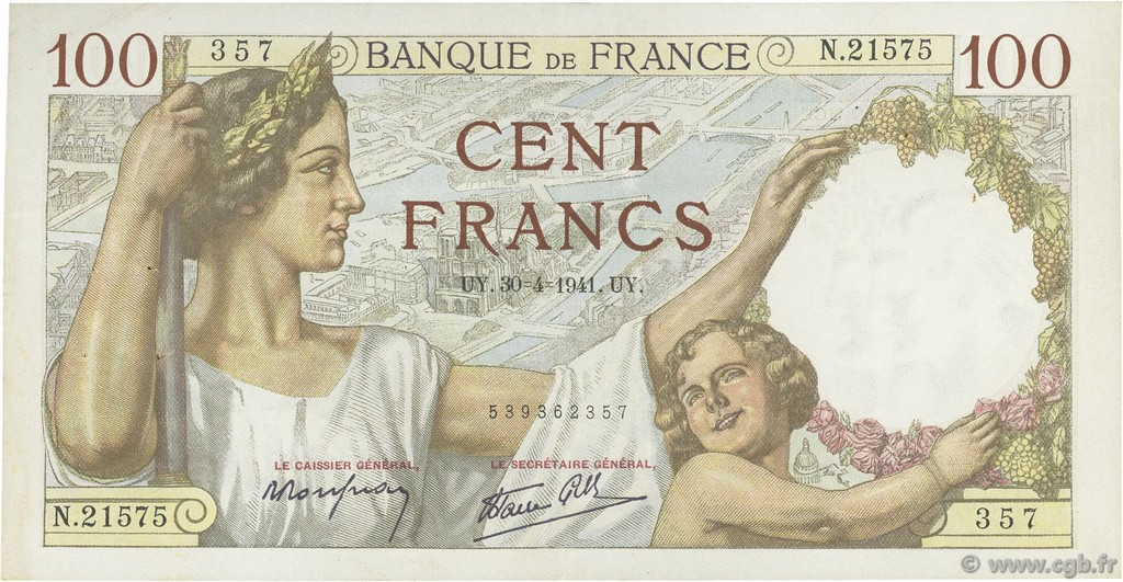 100 Francs SULLY FRANCE  1941 F.26.51 TTB+