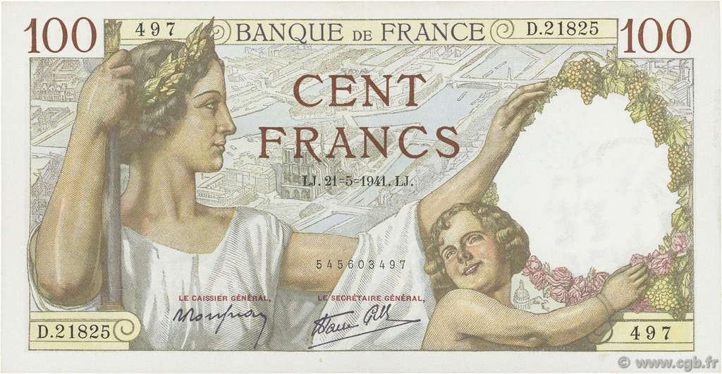 100 Francs SULLY FRANCE  1941 F.26.52 SUP