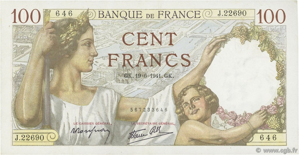 100 Francs SULLY FRANCE  1941 F.26.54 TTB+