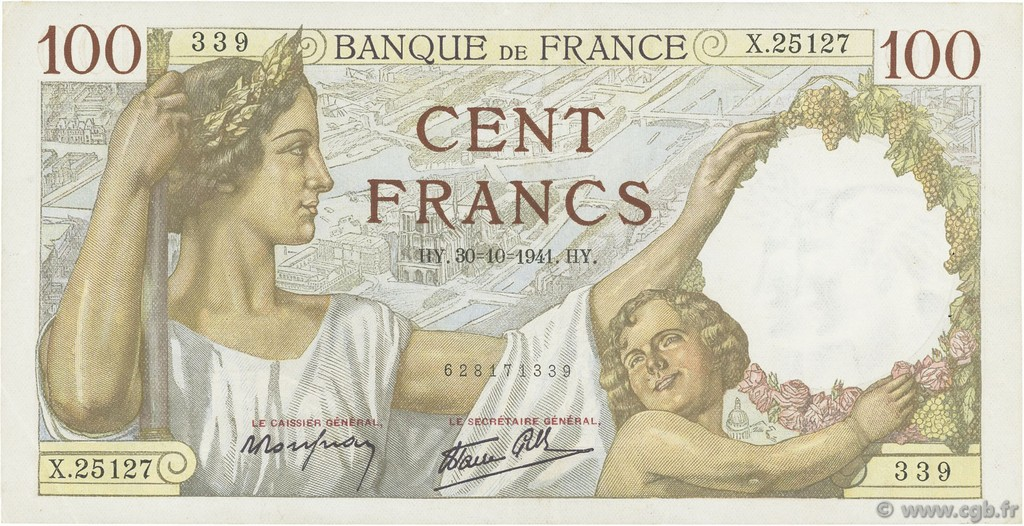 100 Francs SULLY FRANCE  1941 F.26.59 pr.SUP